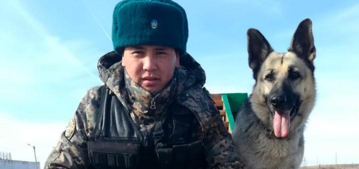 КИнолог с собакой: Алмат Ахметжанов и Афина.